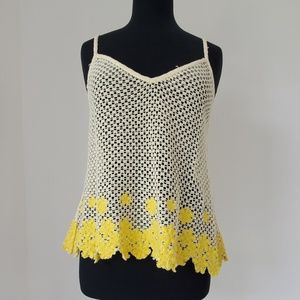 Free People yellow tank top woven m